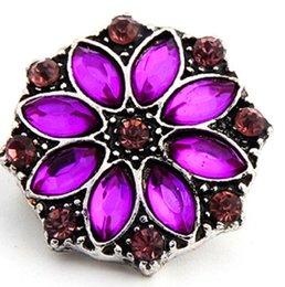 18MM Noosa Snaps Button With Rhinestone 6 Mix Colors Noosa Chunks Snap Button Fit Noosa Diy Jewelry Charm Snaps Bracelets