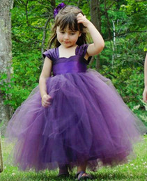 Pretty Flower Girls Dresses For Weddings Party Cap Sleeves Ruched Tulle Purple   Green Little Kids Toddler First Communion Dress