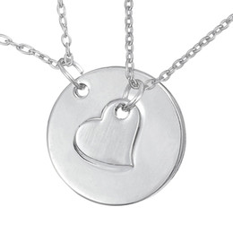 Wholesale Silver Tone Pendant Setting - Set of 2 Silver Tone Heart And Affirmation Circle Washer Pendant Necklace for Couple