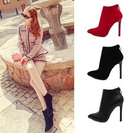 Foreign trade 2015 new winter boots and boots suede high-heeled pointed fine with short tube after zipper boot