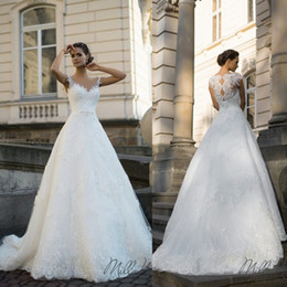 Fashion Milla Nova Wedding Dresses Illusion Jewel Appliqued Lace Bridal Gowns Custom Made Sweep Train A-Line Wedding Dress