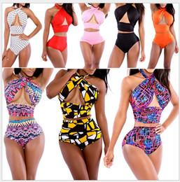 Wholesale New euramerican popularity of bind tall waist belly in printed ms sexy bikini swimsuit