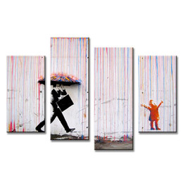Wholesale Hot Sell Set Banksy Art Colorful Rain oil painting paintings for living room wall colorful abstract oil paintings w0098