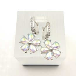 2017 boîtes à bijoux dames Le nouveau magnifique lait blanc dame 925 Collier Argent porter des boucles d'oreilles anneau taille 879 boîte de bijoux gratuite