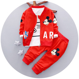 Wholesale Children S Summer Clothes Sale - Hot Sale Poke Go Mickey Mouse Cartoon Three-piece Suit Pocket Monster Children Suit Baby Clothes Set Free Shipping
