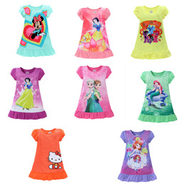 Wholesale 2016 summer girls dresses Elsa Anna Mermaid Sofia Snow White Minnie Cartoon kids pajamas polyester nightgowns sleepwear clothes E1189