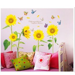 Wholesale wall stickers wall Sunflower wall sticker decorations PVC transparent membrane wall stickers home room office decorations