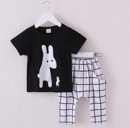 Wholesale 2016 New Summ Baby Boy Clothing Set Pattern Rabbit Toddler Boys Clothing Plaid Kids Clothes Children Clothing Set HJIA291