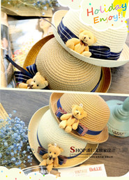 Wholesale Baby Little Bear Bowknot Caps Kids Straw Fedora Hat Boys Girls Sun Hat Children Summer Jazz Bowler Cap Khaki Beige Color Beach Hats
