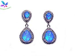 Wholesale & Retail Fashion Blue White Fine Fire Opal Earrings 925 Silver Plated Jewelry EMT16041701