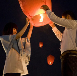 Wholesale Sky Balloon Free Shipping - Free shipping Fire Lanterns Sky Lanterns Wishing Lantern Chinese Sky Flying Paper Balloon Khoom Fay Kong Ming Floating Lamp With Fuel