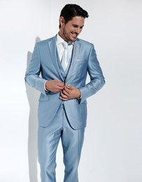 Wholesale New Arrival Groom Tuxedo Baby Blue Groomsmen Notch Lapel Wedding Dinner Suits Best Man Bridegroom Jacket Pants Tie Vest B333