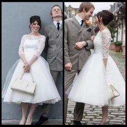 Simple Ivory Short Wedding Dresses 2017 Elegant Scoop Neck 3 4 Long Sleeve Petite Wedding Gowns For Bride Short Dress Plus Size