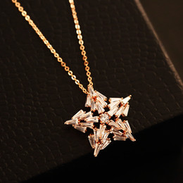 five-pointed star Necklace & Pendant Women Fashion Choker Necklace for Party Collar Costume Zircon Jewelry Gold Plated