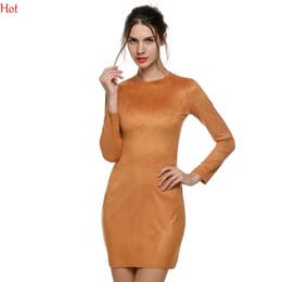 2016 Long Sleeve Slim Party Dress Sexy Club Brown Grey Vestido OL Office Women Winter Dresses Skin Tight Faux Suede Bodycon Dress SV028405