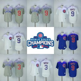 Wholesale 2016 World Series Champions Cubs Jersey Javier Baez David Ross Men s Stitched Embroidery Logos Chicago Cubs Hockey Jerseys