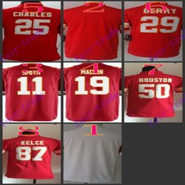 Wholesale Youth NIK Game Football Stitched Chiefs Blank Smith Maclin Charles Berry Houston Kelce White Red Jerseys Mix Order