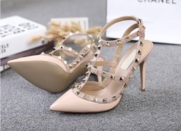 Brand Shoes Woman High Heels Women Pumps Thin Heel Women's Shoes Rivet Pointed Toe High Heels Wedding Shoes