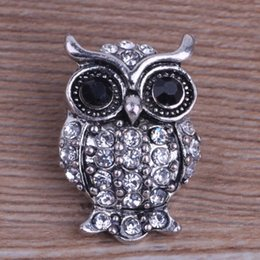 Wholesale mm OWL Shape Noosa Interchangeable Jewelry DIY Bracelets Metal Ginger Snap Buttons with Crystals