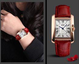 Wholesale fashion vine watch casual leather bracelet wristwatch woman man brand quartz watch square watch sports watch rose gold sapphire crown wat
