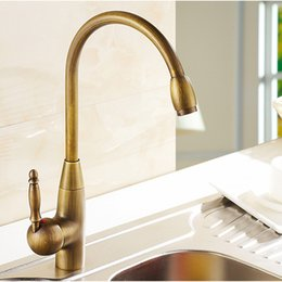 Wholesale Antique Brass Retro Style Hot and Cold Water copper Kitchen Swivel Faucet Kitchen sink basin Mixer rotary Tap brass handle
