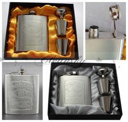 Wholesale Luxury Wine Set - 60sets lot Luxury Hip Flask 7oz set Portable Stainless Steel Flagon Wine Bottle Gift Box Pocket Flask Russian Flagon L77-Z