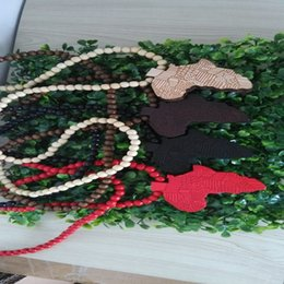 Wholesale 5pcs Hip Hop Necklace Wooden Hand Drawn GOOD WOOD NYC Map Of Africa Beaded Rosary Jewelry Colors Mixed