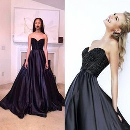 Hot Black Prom Dresses Sweetheart Sweep Train Satin Evening Dresses A Line Sexy Backless Formal Party Wear Custom Made BA2369