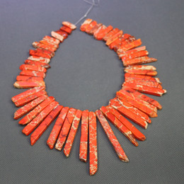Jasper Natural Orange Gemstone Emperor Imperial Jasper Beads Top Drilled Spike Rock Beads Wholesale Price Women Necklace Making Jewelry