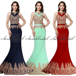 Wholesale Real Photo Gold Applique Beaded Two Pieces Prom Party Formal Dresses Sheer Neck Mint In Stock Luxury Arabic Dubai Occasion Evening Gown