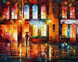 Ville peintures à l'huile de paysage en Ligne-Paysage peintures à l'huile sur toile de lin, ville nocturne, reproduction de Leonid Afremov peinte à la main