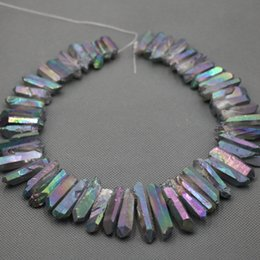 Natural Rainbow AB Quartz Points Beads Rough Raw Rock Crystal Quartz Stick Points Beads Charm Pendant Top Drilled Healing Crystals Necklace