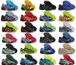 Wholesale Men s Speedcross Outlet Mens Hiking Running Shoes Barefoot Solomons Sports Shoes Zapatillas Newest Style Pure Black Colorways