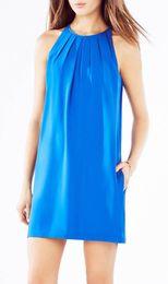 Fashion Pleated Women Shift Dress Round Neck Sleeveless Dresses 055A95