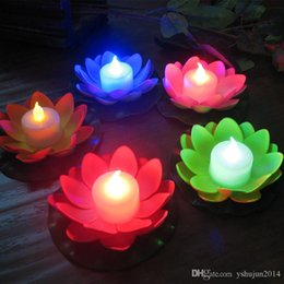 Wholesale Lotus Flowers Lighting Decoration - Artificial LED Candle Floating Lotus Flower With Colorful Changed Lights For Birthday Wedding Party Decorations Supplies Ornament