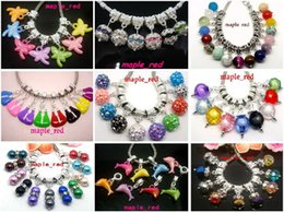 Wholesale 100pcs lot Mixed Style Crystal Rhinestone Acrylic Resin Stone Beads Dangle Pendants fit European Bracelet & Necklace