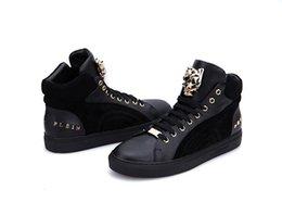 Wholesale Sale Germany Tide Brand Mens Genuine Leather Black Causal Shoes Plein Lace Up Kicks Size EUR38