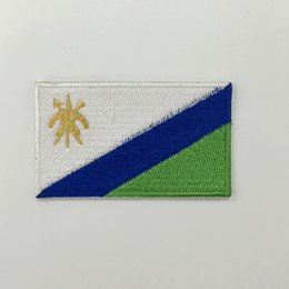 """lesotho flag embroidered patch wholesale embroidery custom for t-shirt logo 2.5""""W x 1.5""""H free shipping"""
