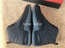 2016 Nouveau Air Retro 12 Laine Noir Nylon Basketball Chaussures Hommes Femmes Sports Athletic Baskets Cheap Retro 12s OVO Haute Qualité Sneakers à partir de chaussures de sport pas cher fournisseurs