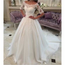 Custom Made A Line Off The Shoulder Ivory Tulle Lace Half Sleeve Wedding Dresses Lace Up New Arrival Bridal Gowns