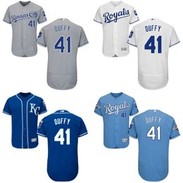 Wholesale White grey blue Danny Duffy Authentic Jersey Men s Kansas City Royals Gold Program World Series Champions FlexBase
