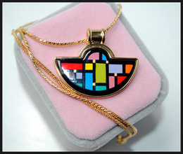 Mondrian Series 18K gold-plated enamel necklaces for woman Fan Pendant Necklace colar women necklace