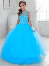 Wholesale New Blue Flower Girl Dresses Princess Kids Pageant Party Gown Ball Gowns Floor Length Crystal Beaded Tulle School Homecoming Dresses