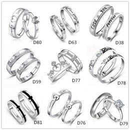 Mixed Style 925 Silver Plated Adjustable Ring Jewelry Engagement letters Love Zircon Wedding Lovers Couple Rings for Women MenD59