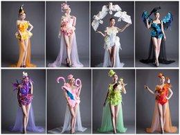 Wholesale Sexy Wedding Dress Costumes - Party Prom Flower Bodysuit Performance Cat Walk Costumes Sexy Slim Clubwear Dancewear DJ Female Singer Designer Outfit Wedding Dresses Set