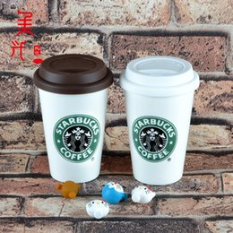 Wholesale Starbucks Bone China Cups - Plumblossom M10# 50pcs Creative ceramic cups Starbucks coffee water milk cups wholesale custom advertising mug with silicone lid and spoon