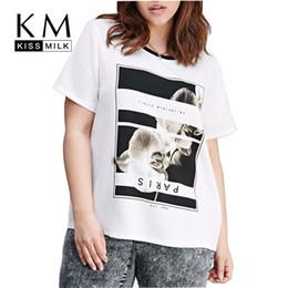 Promotion imprimé floral t-shirts femmes Kissmilk Vêtements Floral Letter Print T-shirt col ras du cou à manches courtes Zipper Back Tees Casual Street Style Femmes Tops Plus Size 3XL 4XL 5XL