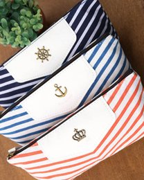 Wholesale New Creative Navy Stripe Fabric Pencil Bag Pen Cosmetic Pouch For Stationery Suppliers