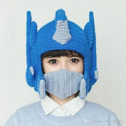 Wholesale New Arrival Cool Transformers Knitted Hat Personality Super Warm Face Cover Windproof Mask Optimus Prime Cosplay Helmet Beanies