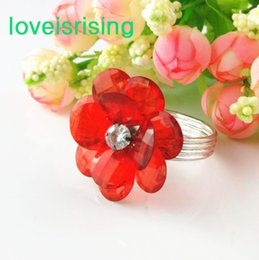 3 Color Flower U Pick --50PCS RED Acrylic Crystal Flower Gem Vintage Style Napkin Ring Wedding Bridal Shower Favor Napkin holder